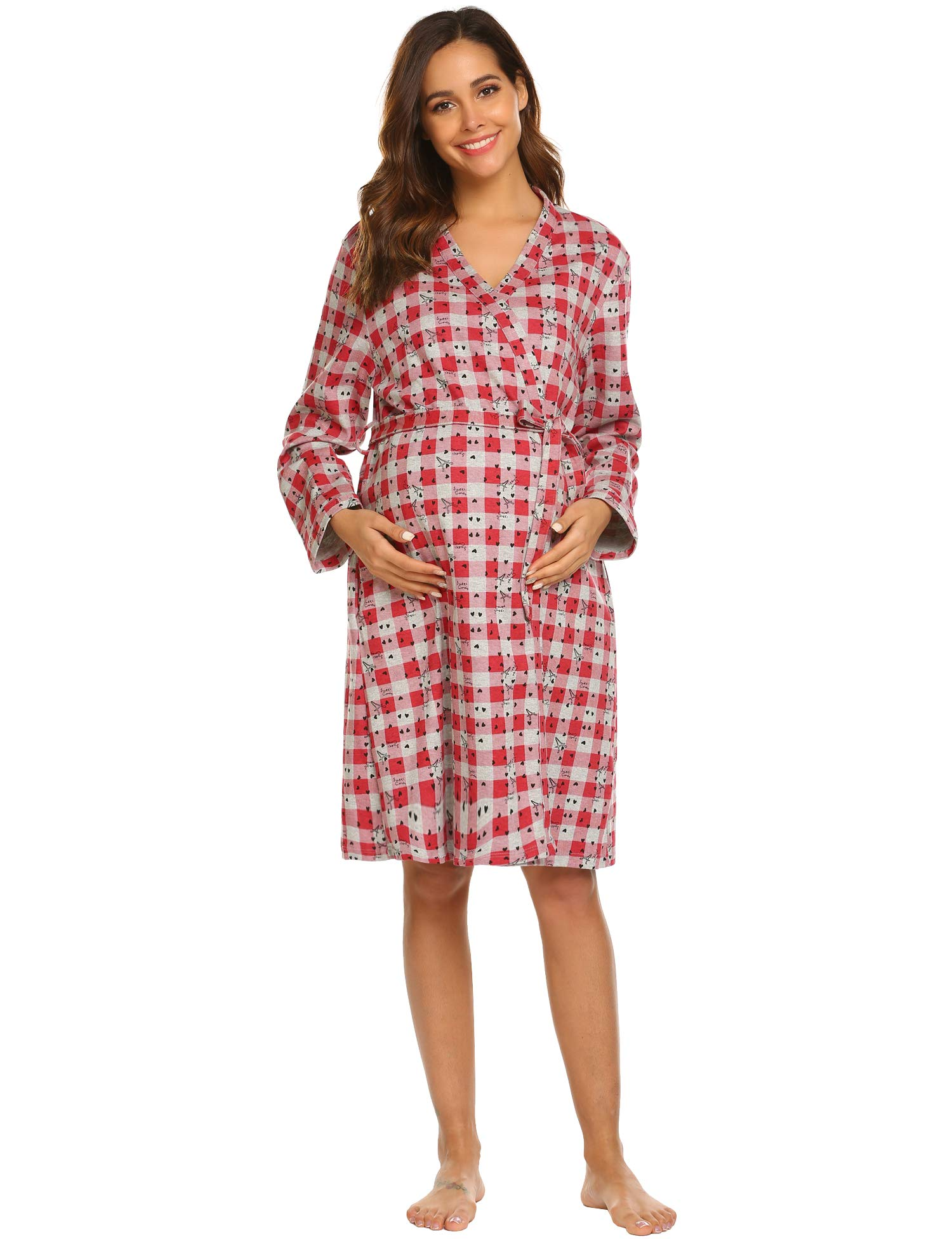 Ekouaer Womens Cotton Maternity Robe V Neck Labor and Delivery Print Kimono Nightgowns Sleepshirts for Breastfeeding
