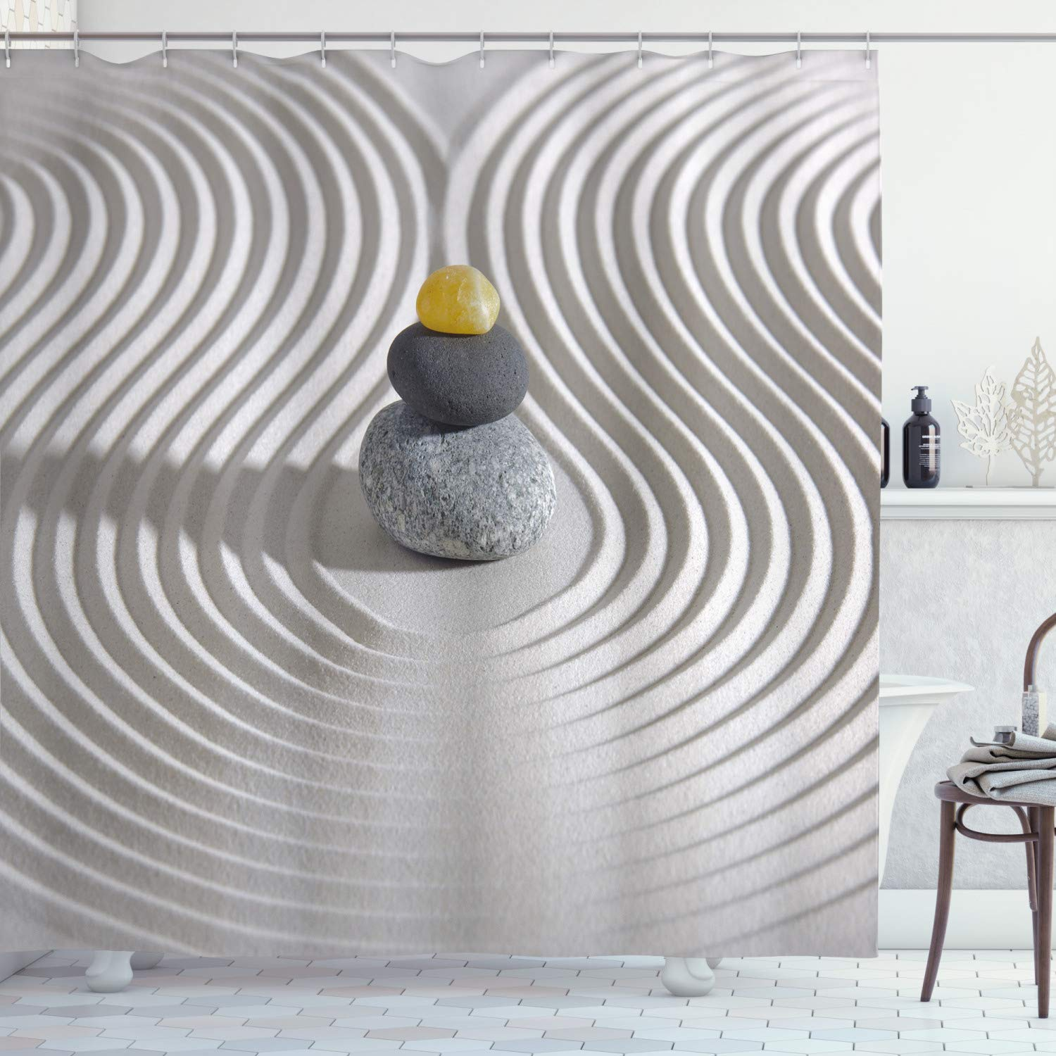 """Ambesonne Spa Shower Curtain, 3 Hot Massage Stones in The Middle of The White Sand Shaped Waves Artwork, Cloth Fabric Bathroom Decor Set with Hooks, 75"""" Long, Grey Yellow"""
