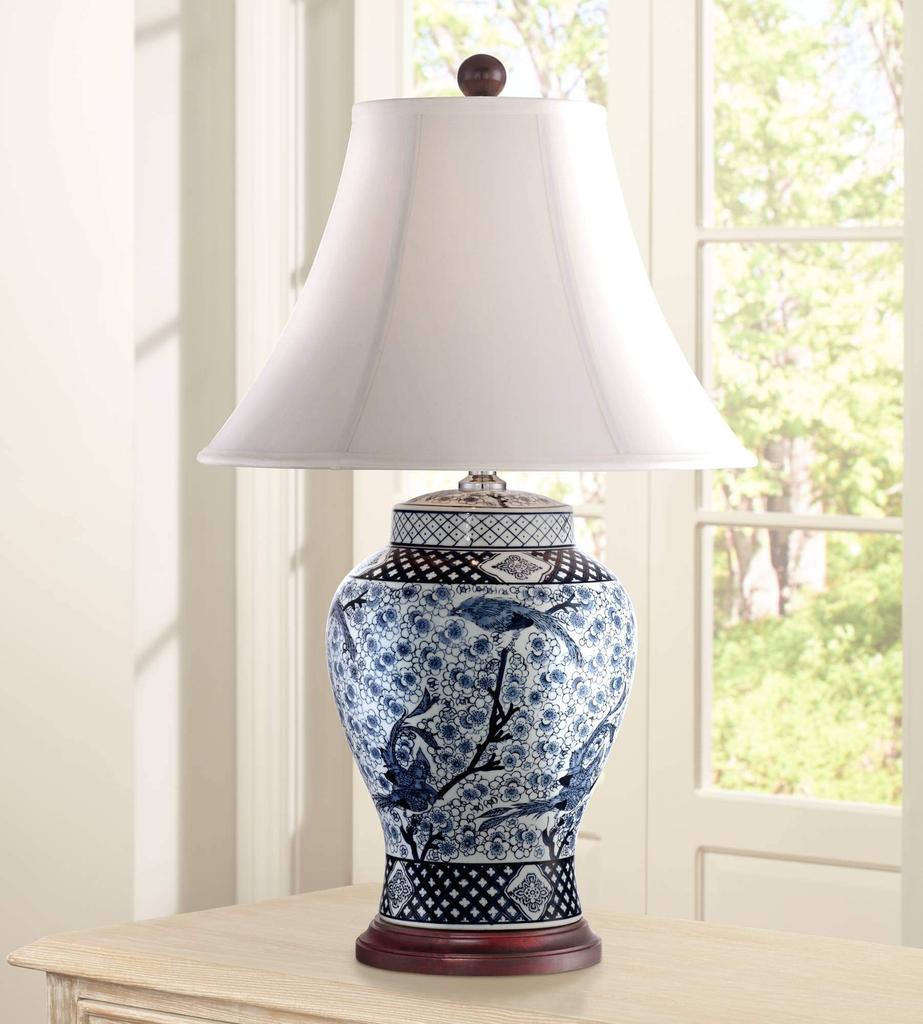 Shonna Traditional Table Lamp Porcelain Blue And White Bird And Branch Jar White Bell Shade For Living Room Family Bedroom Barnes And Ivy