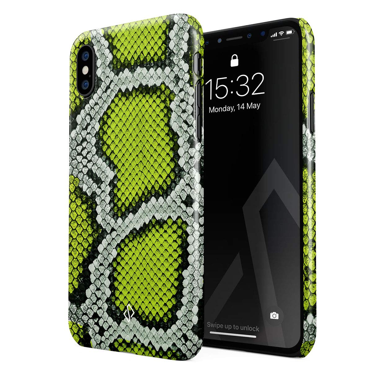BURGA Phone Case Compatible with iPhone Xs Max - Neon Green Snake Skin Print Serpent Pattern Summer Exotic Tropical Cute Case for Women Thin Design Durable Hard Plastic Protective Case