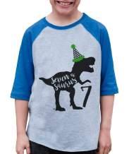 7 ate 9 Apparel Kid's Seven Dinosaur Birthday Blue Raglan Tee
