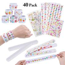 JUSTDOLIFE DIY Slap Bracelets, 40 Pack White Slap Bracelets with Self-Adhesive Diamond Rhinestone Sticker, DIY Craft Jewels Gem Crystal Stickers Wristband Party Favors Snap Bracelets for Kids Party