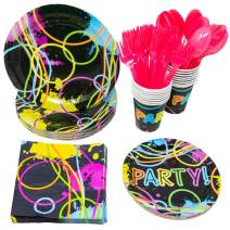 Blue Orchards Glow Party Standard Party Packs (113+ Pieces for 16 Guests!), Glow Party Supplies, Tableware