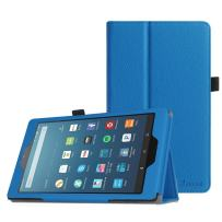 Fintie Folio Case for All-New Amazon Fire HD 8 Tablet (Compatible with 7th and 8th Generation Tablets, 2017 and 2018 Releases) - Slim Fit Premium Vegan Leather Standing Protective Cover, Blue