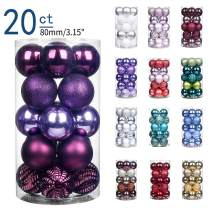 "XmasExp 20ct Christmas Balls Ornaments - Shatterproof Large Hanging Ball Decorative Xmas Balls for Holiday Wedding Party Xmas Tree Decoration(3.15""/80mm, Purple)"