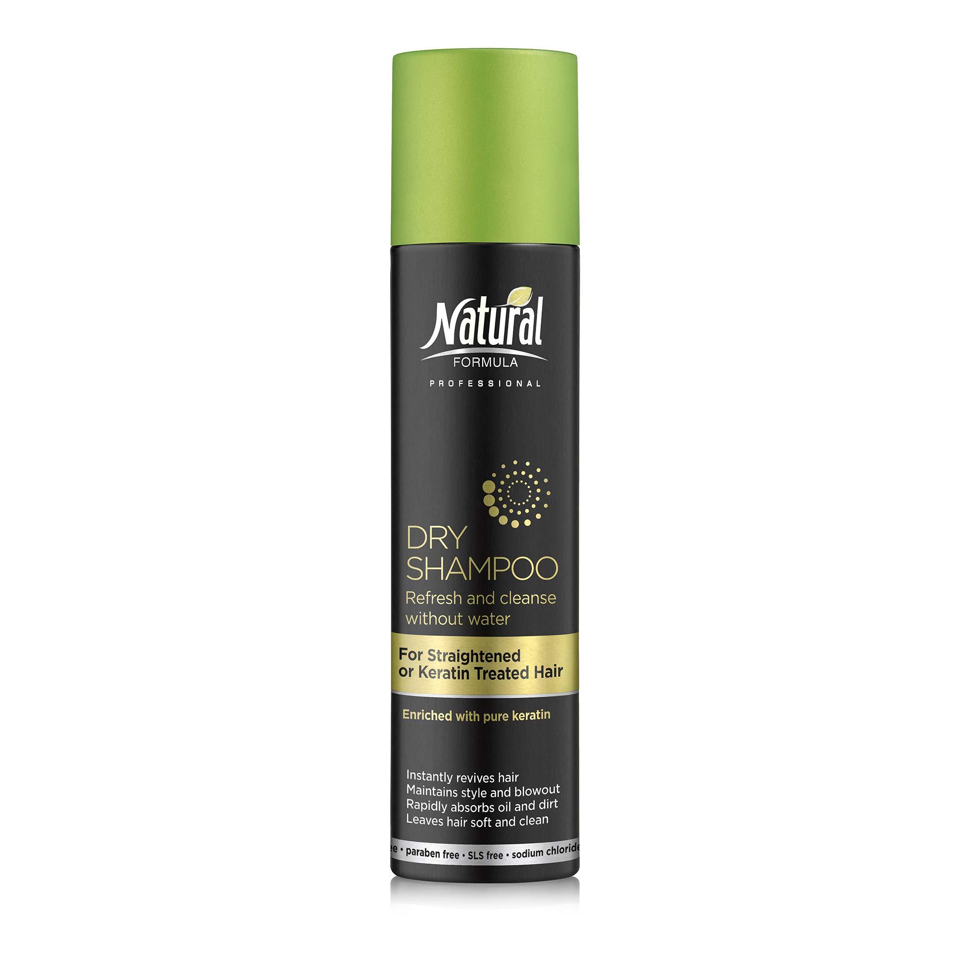 Natural Formula Dry Shampoo for Straightened, Heat Styled or Keratin Treated Hair – Keratin Infused Dry Shampoo Hair Spray – Sodium Chloride Salt, Talc, SLS and Paraben Free 6.76 Fl Oz
