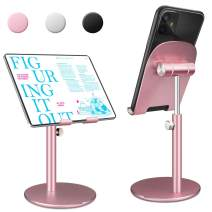 """Swhatty Cell Phone Stand Universal Tablet Dock, Angle Height Adjustable Sturdy All Aluminum Alloy Stable Phone Holder for Desk, Compatible with Mobile Phone/iPad 4.7""""-12.9"""" Screen (Rose Gold)"""