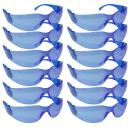 SAFE HANDLER Full Color Safety Glasses | One Size, Adult, Youth, Full Color Polycarbonate Lens and Temple, BLUE, 12 per Box (1 box/12 Pairs)
