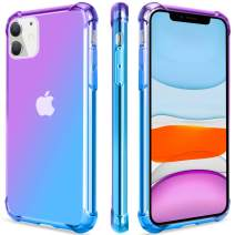 Salawat for iPhone 11 Case, Clear Cute Gradient iPhone 11 Phone Case Slim Anti Scratch Flexible TPU Cover Reinforced Corners Shockproof Protective Case for iPhone 11 6.1 Inch 2019 (Purple Blue)
