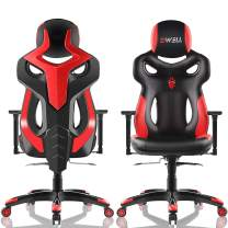 EDWELL Office Chair Racing Gaming Chair Adjustable PU Leather Executive Computer Desk Chair High-Back Video Chair with Headrest and Armrest for Adults, Red
