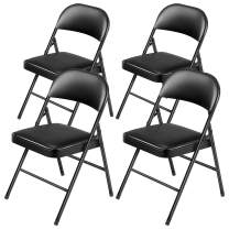 Kealive Folding Chair Steel Upholstered Padded Seat and Back 4 Pack Vinyl Padded Folding Chairs Stacked Double Hinged 330 lbs Weight Capacity, 4 Padded Dining Chairs Metal Frame, Black