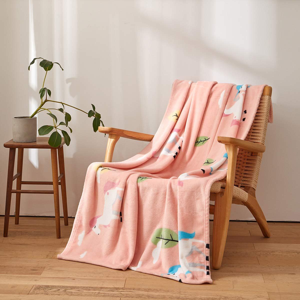 Unicorn Pink Flannel Fleece Blanket for Baby Girl, Soft Warm Cozy Toddler Blanket & Receiving Blanket for Infant or Newborn,(39 x 57 in)