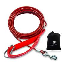 Heavy Duty Long Dog Leash for Training, Long Dog Chain Outside Tie Out Cable,50 FT Dog Lead for Dog Running Outdoor,Long Check Cord Slip Lead for Dog Training,Backyard or Camping