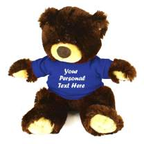 Plushland Chocolate Noah Teddy Bear 12 Inch, Stuffed Animal Personalized Gift - Custom Text on Shirt - Great Present for Mothers Day, Valentine Day, Graduation Day, Birthday (Royal Blue Shirt)