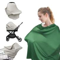 Nursing Cover for Breastfeeding, Baby Car Seat Cover, Shopping Cart Stroller Cover, Multi Use Carseat Canopy Scarf for Boys and Girls, 2 Pack by YOOFOSS