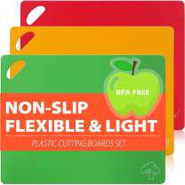 Flexible Plastic Cutting Board Mats Set for Kitchen, Thicker Cutting Sheets with Dishwasher Friendly, No-Porous, BPA-Free, EZ-Grip Handle (Set of 3 Colorful Food Icons) by CHIENTUNG
