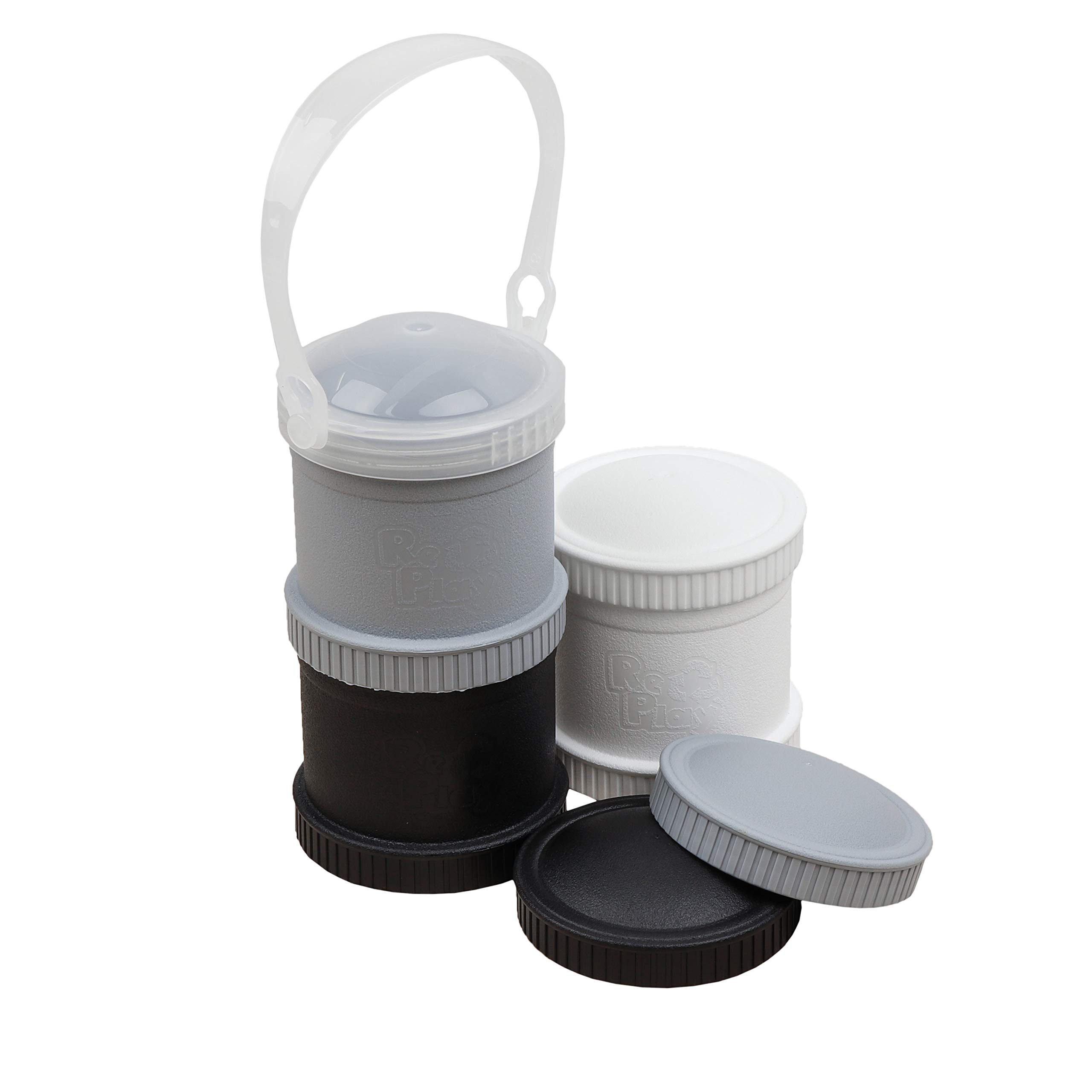 Re-Play Made in The USA 7 Piece Stackable Food and Snack Storage Containers for Babies, Toddlers and Kids of All Ages (Monochrome)