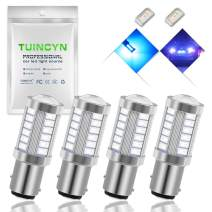 TUINCYN 1157 BAY15D LED Bulb Blue Brake Light Bulb Super Bright 5630 33SMD 1016 1034 7528 2057 Tail Light Back Up Reverse Light Turn Signals Light Parking Light DC 12V (Pack of 4)