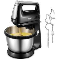 Stand Mixer Electric 2 in 1 Hand Mixer with 3.7 Quarts Stainless Steel Bowl (360°Uniform Rotation), 5 Speed Plus Turbo and Eject Function, Include 2 Beaters & 2 Dough Hooks, 250W (Silver)