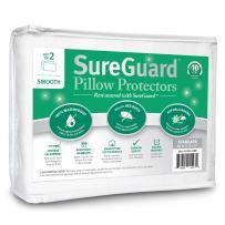 Set of 2 Standard Size SureGuard Pillow Protectors - 100% Waterproof, Bed Bug Proof, Hypoallergenic - Premium Zippered Cotton Covers - 10 Year Warranty - Smooth