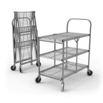 Offex Collapsible Steel Wire Utility Supply Cart with 3 Shelf, Single-Grab Handle in Polished Chrome Finish - Ideal for Restaurants, Kitchens and Cafe