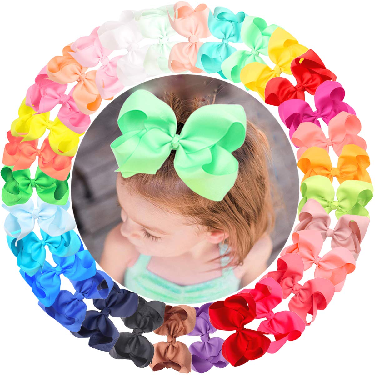 """CÉLLOT 30 Colors 6 Inch Bows for Baby Girls Big Grosgrain Girls 6"""" Hair Bows Alligator Clips For Teens Kids Toddlers"""