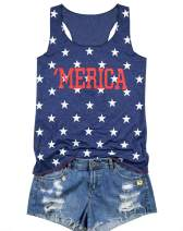 KIDDAD Merica Tank Top Women American Flag Stars Print Tank Sleeveless Tank Shirt 4th of July Patriotic Tank Top