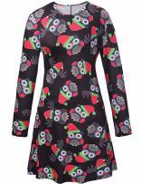 Ruiyige Girl Women Fit and Flare Long Sleeve Christmas Owl Snowman Santa Print Skater Dress 110cm fits 5-6 Years Old K203-Black…