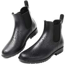 Yvmurain Women's Short Rain Boots Waterproof Anti Slip Rubber Ankle Chelsea Booties