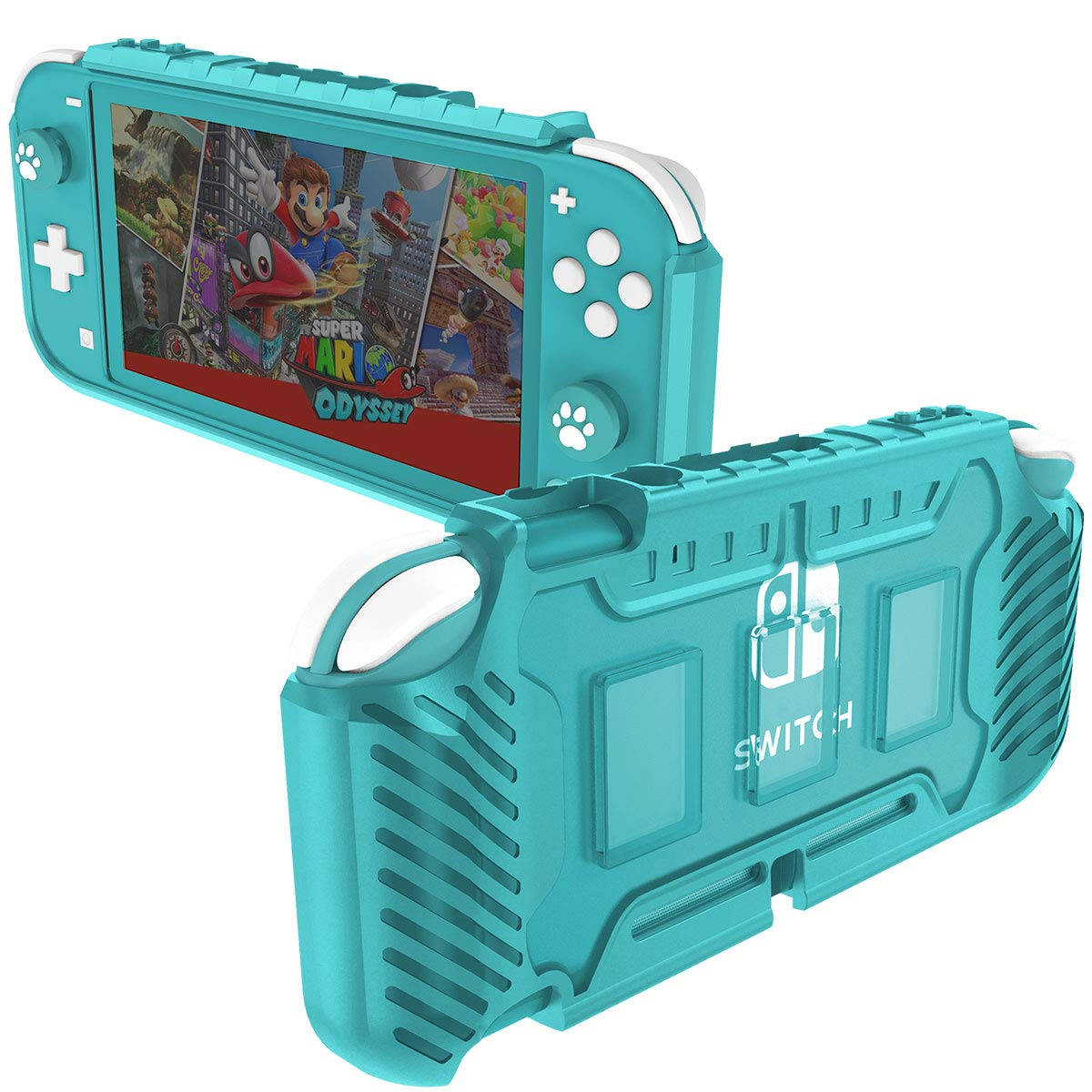 KIWIHOME Protective Case for Switch Lite 2019, TPU Grip Cover Case Accessories for Switch Lite Console with Joystick Caps and Game Card Slots (Turquoise)