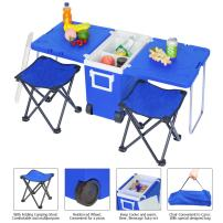 Lovinland Rolling Camping Cooler Warm, Multi-Function Picnic Table Portable Insulated Beverage Outdoor Camping Table with 2 Foldable Fishing Chair Stools