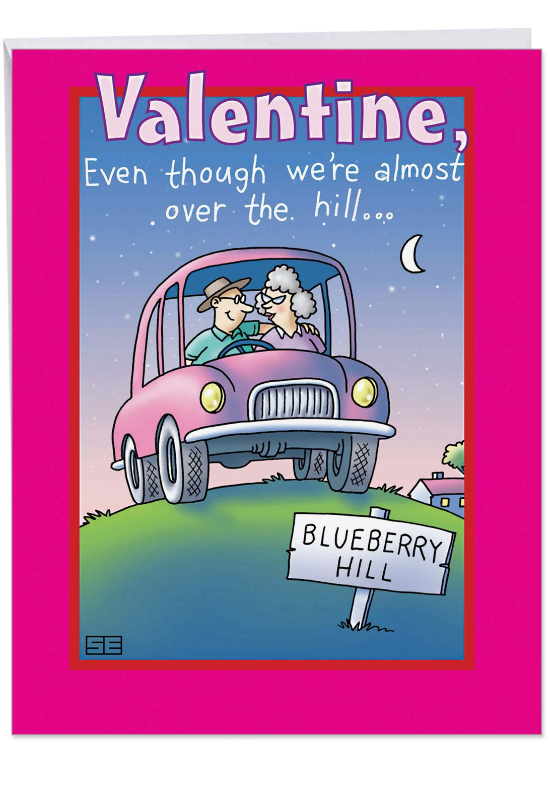 Jumbo Over the Hill My Thrill Valentines Day Card w/ Envelope Jumbo 8.5 x 11 Inch - Old Couple in Parked Car - Cartoon Stationery Personalized Stationery Love Letter, V-Day Gift J2427