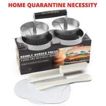Kitchen RMore Burger Presses + Recipe EBook + Patty Paper | Non-Stick Aluminum Hamburger Mold Grilling Accessories for Perfect Patties (Silver Double Burger Press + Meatball/Kabob Maker)