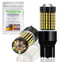TUINCYN 7443 7444 992 T20 Switchback LED Turn Signals Bulb White/Amber Dual Color Switch Back Extremely Bright 120-EX Chipsets 6500K DRL LED Bulb(Pack of 2)