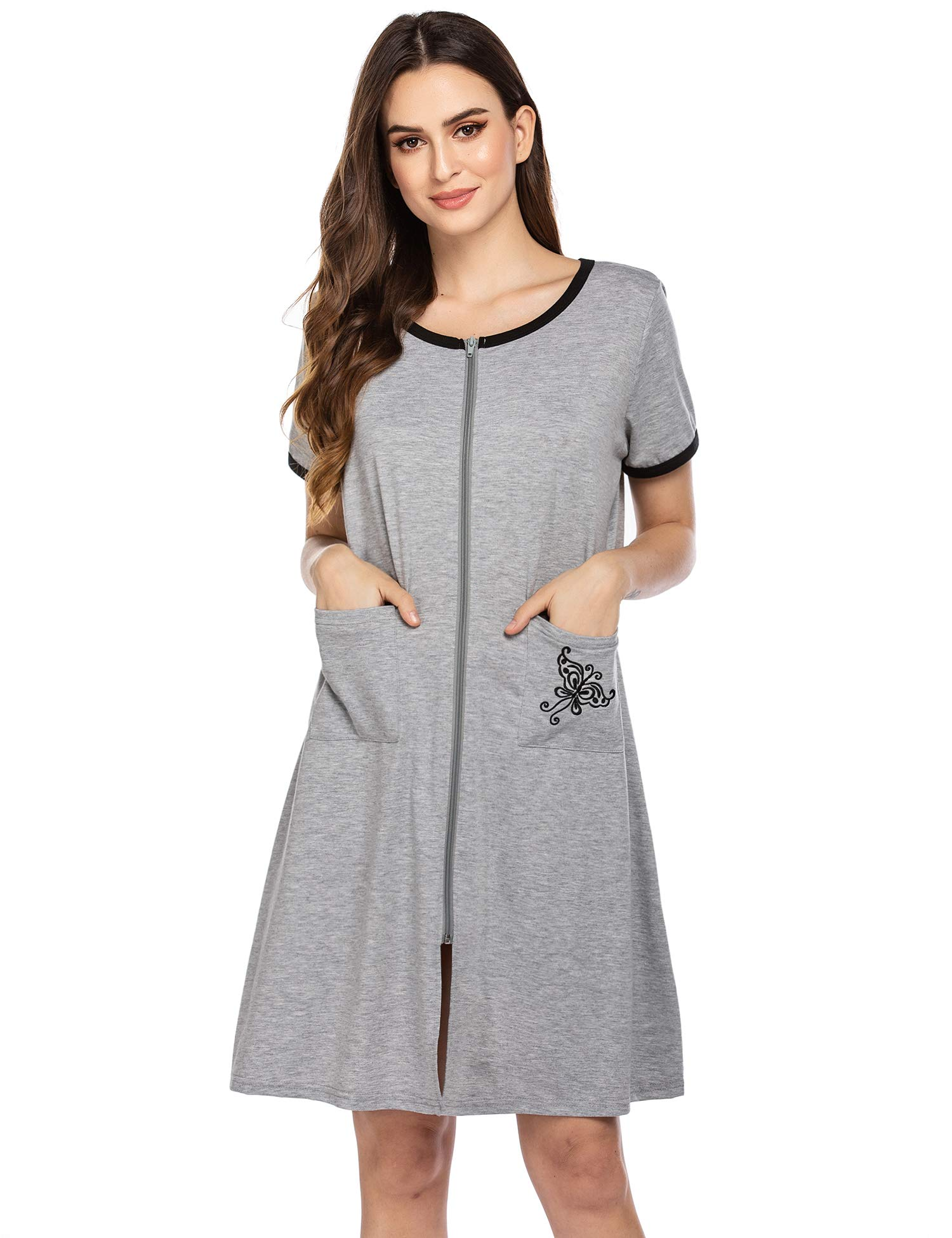 Ekouaer Women Zipper Front House Coat Short Sleeves Robe Zip up Bathrobes Lace Nightgown with Pockets