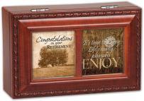 Cottage Garden Congrats On Your Retirement Woodgrain Rope Trim Jewelry Music Box Plays Wonderful World