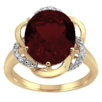 Garnet and Diamond Flower Ring in 10K Yellow Gold