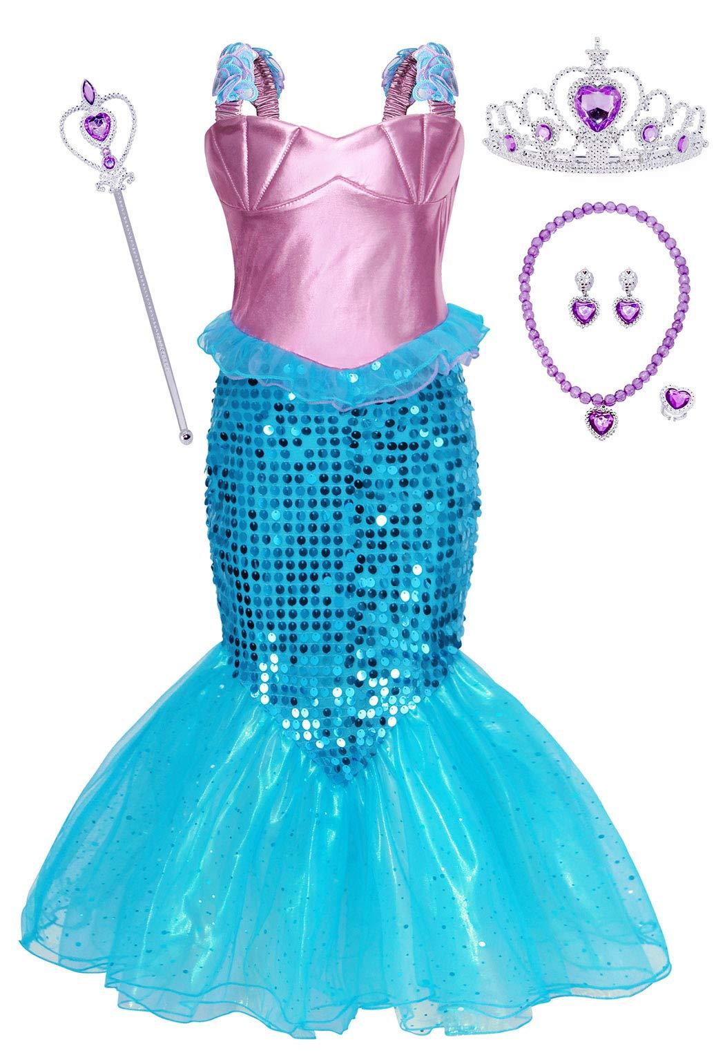 HenzWorld Mermaid Costume Princess Dress Birthday Party Cosplay Ruffle Shoulder Strap Headband Jewelry Accessory
