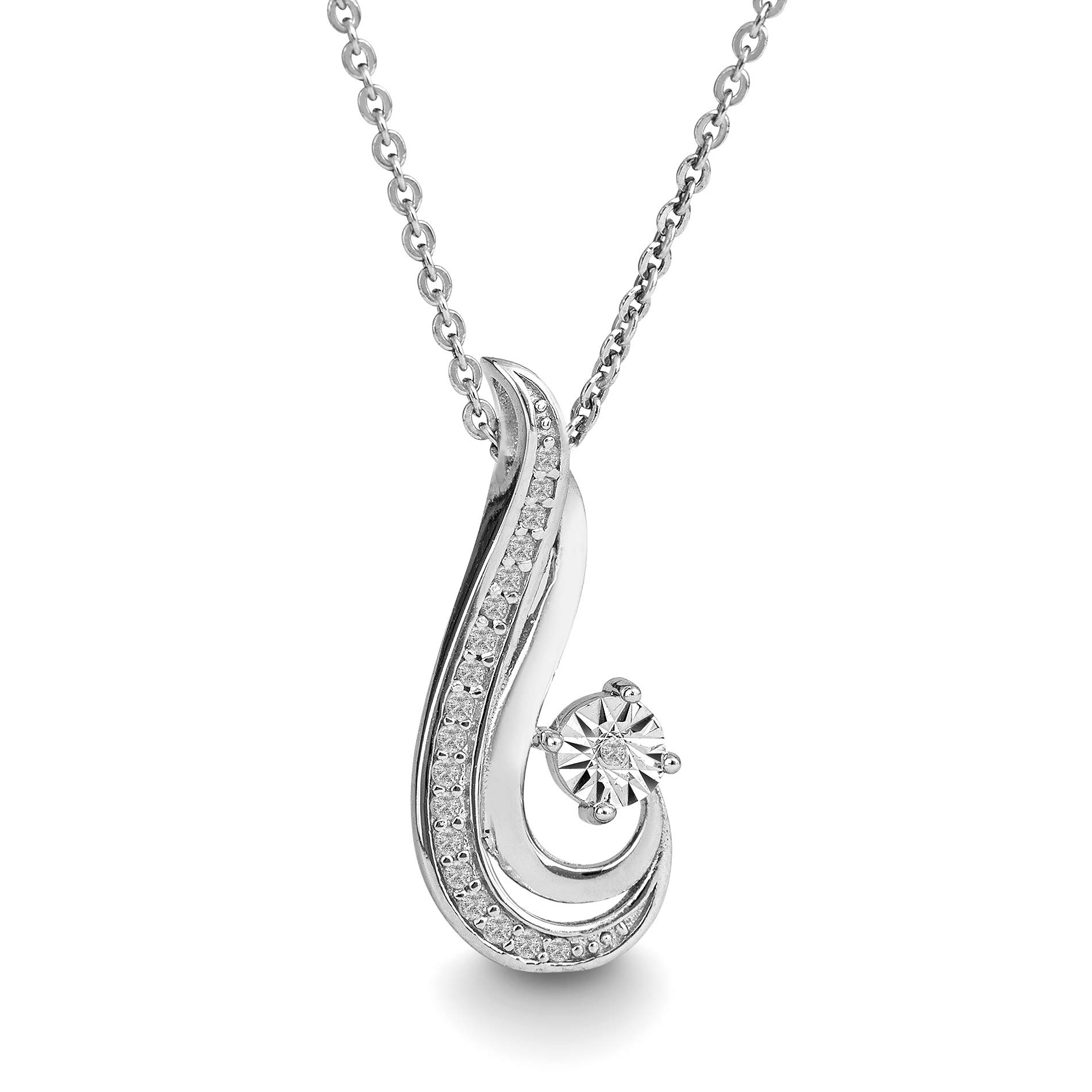 Devin Rose Rhodium Plated Sterling Silver 1/10 Cttw Diamond Swirl Ocean Wave Necklace for Women (Color IJ/Clarity I2-I3)