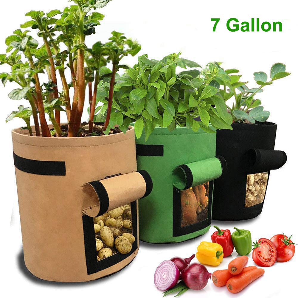 JanTelGO Potato Grow Bags 3 Pack, 7 Gallon Aeration Fabric Garden Boxes with Flap and Handles, Velcro Window Vegetable Peanut Growing Box Bucket Pot for Nursery (Black Brown Green)