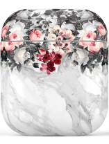 Airpod Case,Flexible Silicone Cover Cases for Airpods 1st/2nd with Cute Floral Marble Design for Girls Women,Shockproof Protective TPU Airpod Case with Keychain Compatible with Wireless Charging