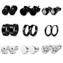 9 Pairs Black Stud Earrings Stainless Steel Circle piercing Stud Earrings set for Men & Women