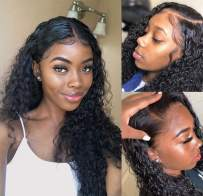 """Luduna 26 Wig Human Hair Wet Wavy Wigs with Baby Hair 150% Density 9A 100% Unprocessed Brazilian Water Wave Wigs Glueless Pre-Plucked Human Hair Lace Front Wigs for Black Women (26"""", Natural Color)"""