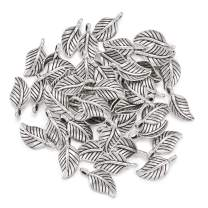 Craftdady 100Pcs Antique Silver Tree Leaf Charms 14x7mm Tibetan Metal Branch Leaf Pendants for Jewelry Making Hole: 1.5mm Lead Free Cadmium Free