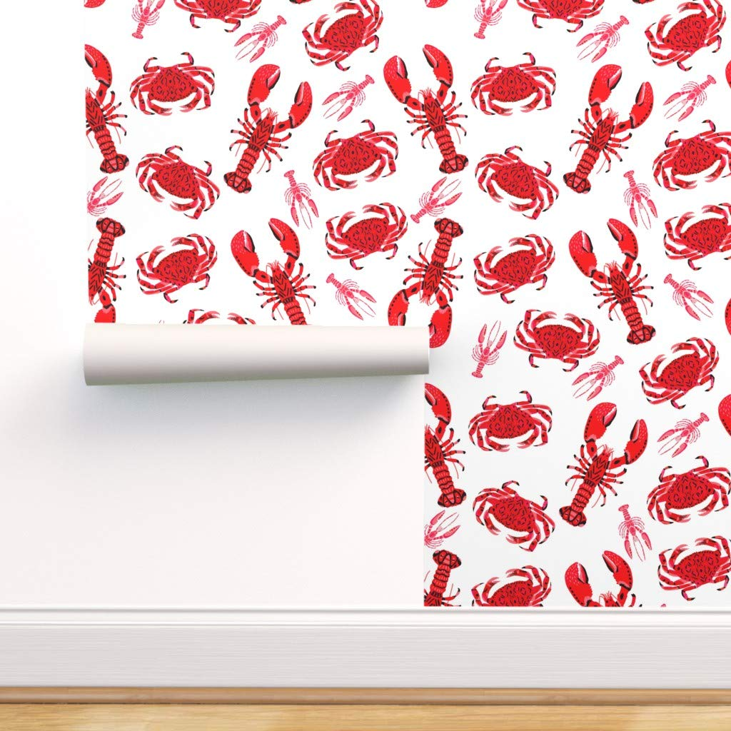 Spoonflower Pre-Pasted Removable Wallpaper, Lobster Ocean Nautical Sea Food Print, Water-Activated Wallpaper, 24in x 108in Roll