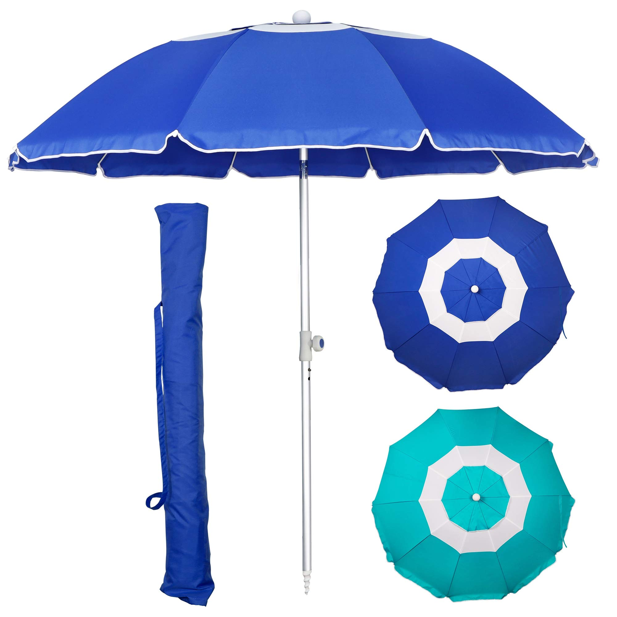 Blissun 7' Portable Beach Umbrella with Sand Anchor, Tilt Pole, Carry Bag, Air Vent, Portable Sun Shelter for Beach Patio Garden Outdoor, Blue