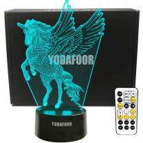 YODAFOOR 3D Fly Unicorn Night Lights Bedside Lamp 7 Colors Changing with Timing Function Remote Control Best Unicorn Christmas Birthday Gifts for Teens Girls Kids Women Unicorn Room Decor-ation