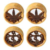 BodyJ4You Saddle Plugs Ear Gauge Tunnel 4-Pieces Kit Stretching Set Natural Wood 12mm-30mm