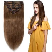 S-noilite 65g Clip in Remy Human Hair Extensions Full Head 8 Pieces Set Long length Straight Very Soft Style Real Silky for Beauty 8inch #6 Light Brown