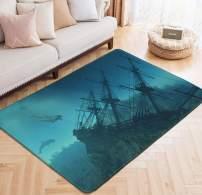 Area Rug Pirate Boat Dolphins Print Floor Mat Underwater Sunken Ship Large Carpet for Kids Yoga Living Room Home Decor Rugs 5' x 6.6'
